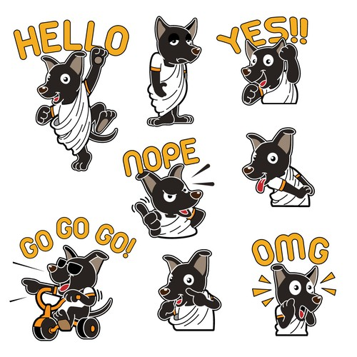 formosan black dog line sticker