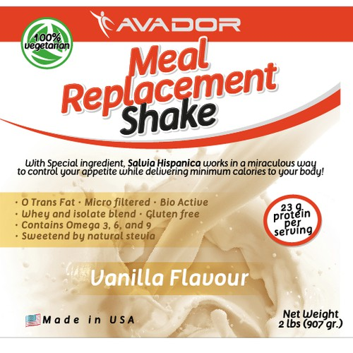 Label for a Meal Replacement Shake