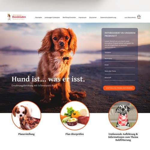 Erstelle ein Landingpage Design fuer Floeckchens Hundeladen
