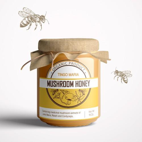 Label for a mushroom honey
