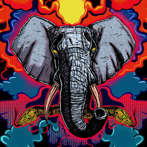 Illustration of a powerful elephant