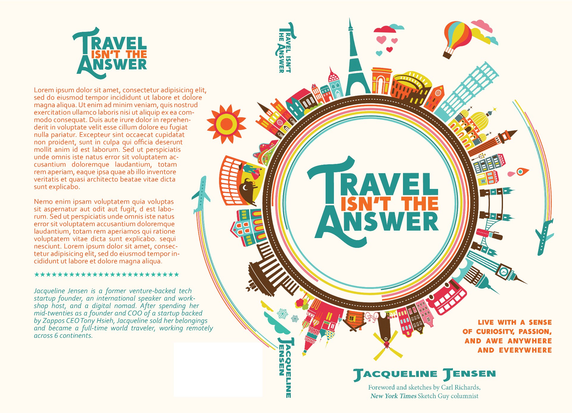 """Create a book cover for """"Travel Isn't The Answer"""""""