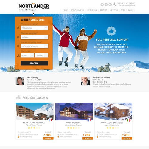 Beautiful new website design for Nortlander Skitours