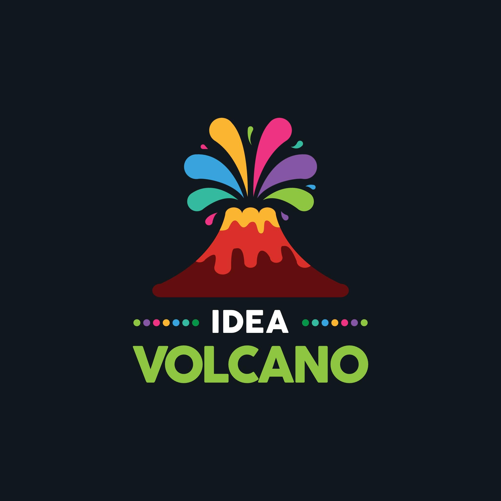 Make a colourful volcano logo for a creativity book