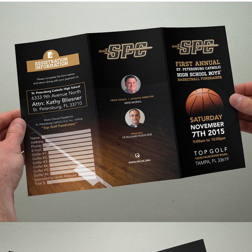 Create a unique event brochure for charity fundraiser