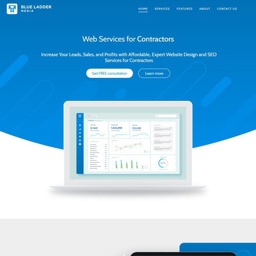 Landing page design for a marketing agency