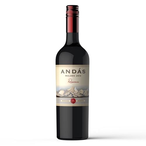Product label design for 'Andás' wine