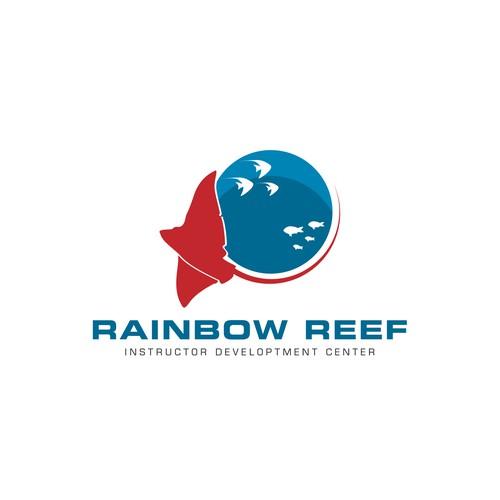 Create a classic scuba diving design for Rainbow Reef Dive Center