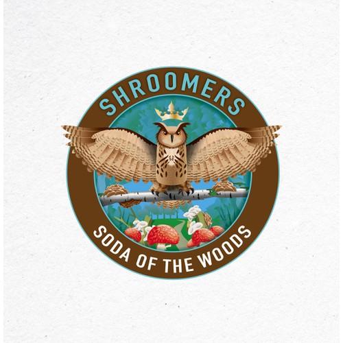 Logo for a mushroom based sodas company