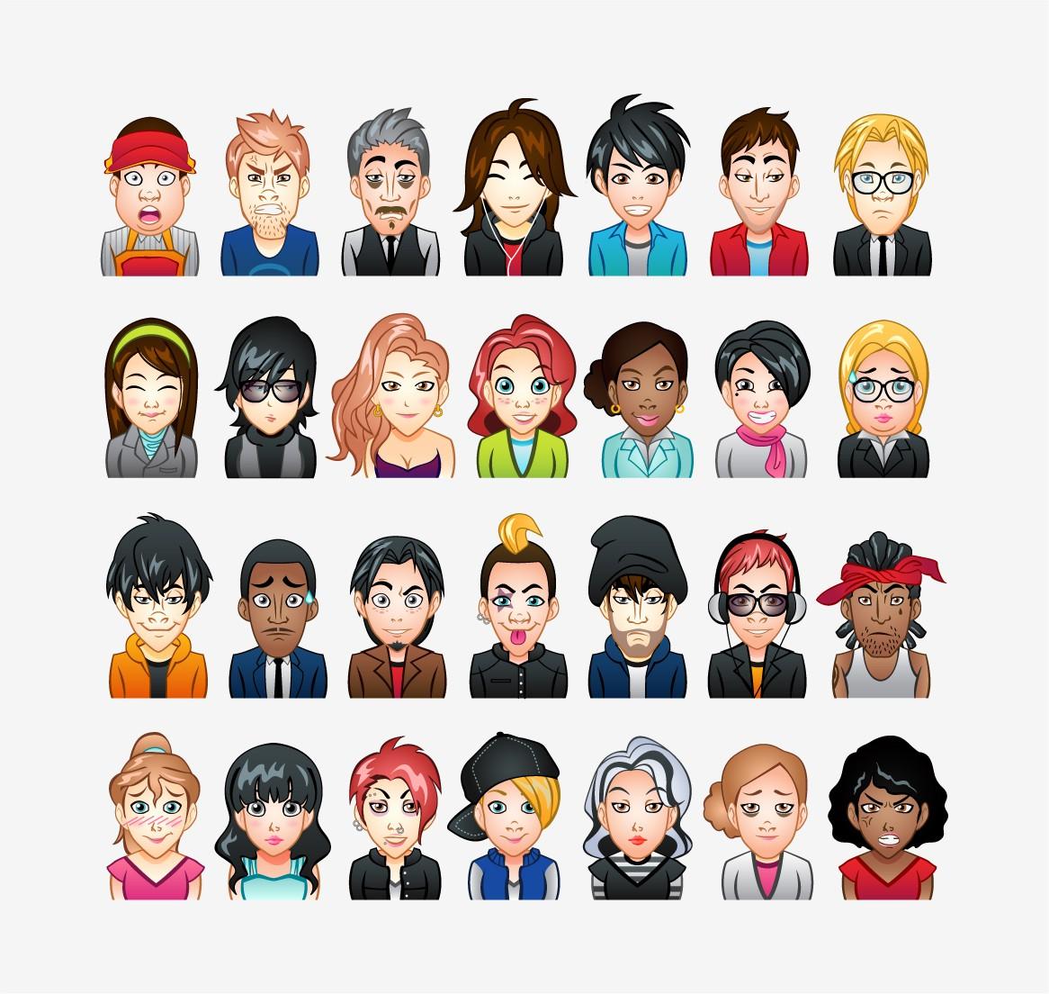 Design 15 Avatars (heads) for an avatar engine