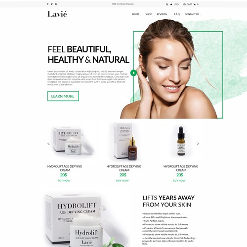 Web site design for beauty products