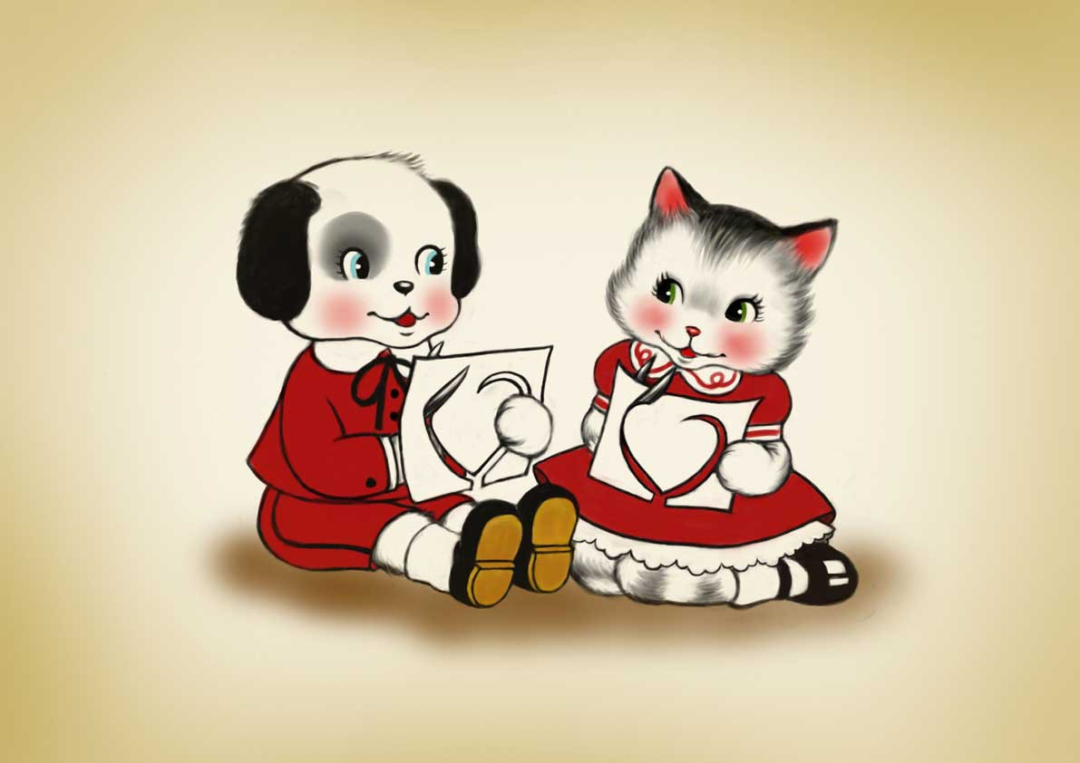 Vintage Valentine Character Illustrations