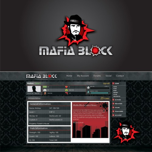 "Logo for an online browser-based game with a ""mafia"" theme"