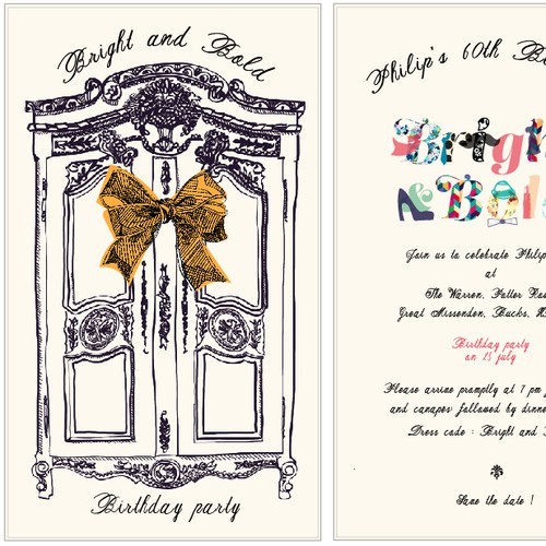 Create an event invitation with a difference - opening wardrobe and unique typography
