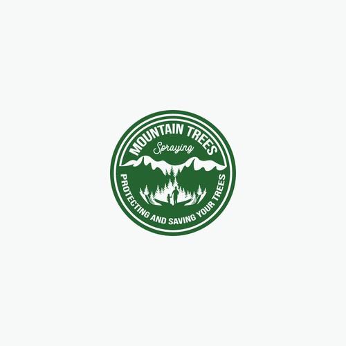Mountain Trees Spraying Logo Design