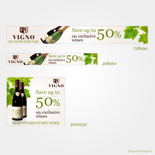 Banners for Vigno  - A wine & champagne deals site