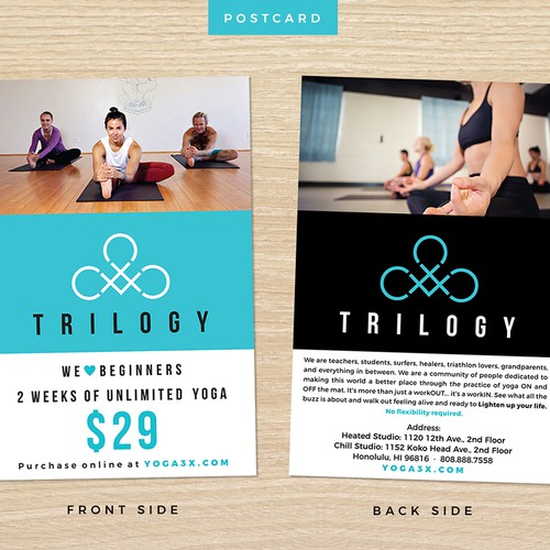 Postcard for TRILOGY yoga center