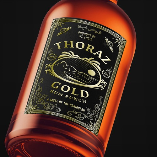 Thoraz Gold  Rum Punch Label