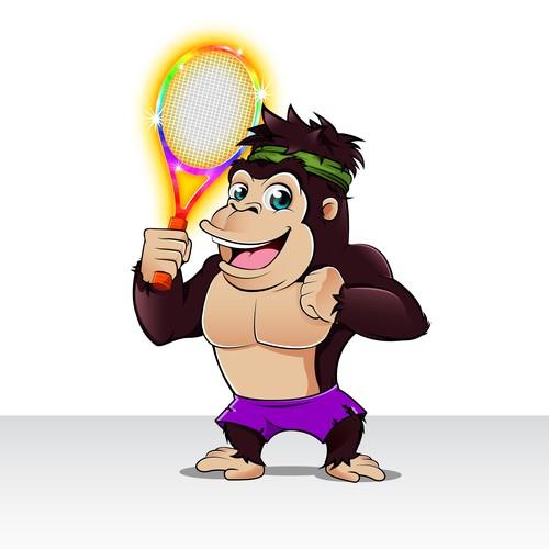 young sporty cartoon gorilla