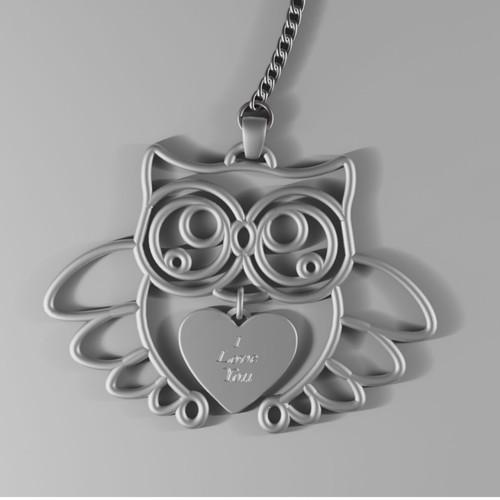 3D owl keychain