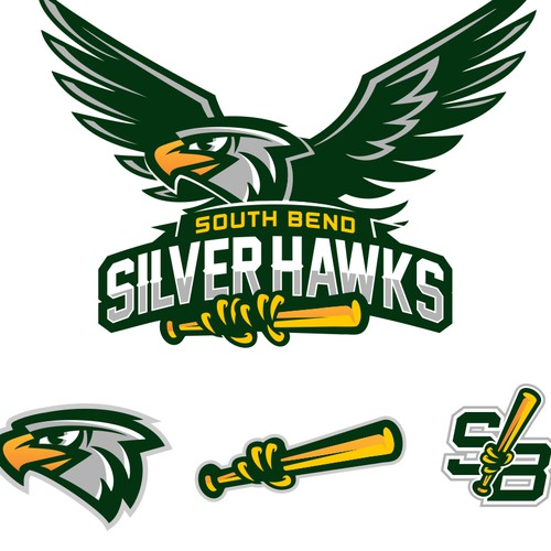 Baseball Team Logo - Silver Hawks