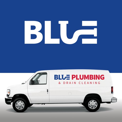 A logo for a blue plumbing company