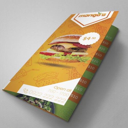 food menu for fast food