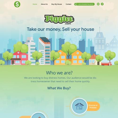 """Redesign a """"We buy homes"""" website. PIGGIEE.com ($$$$$) Fast responses"""