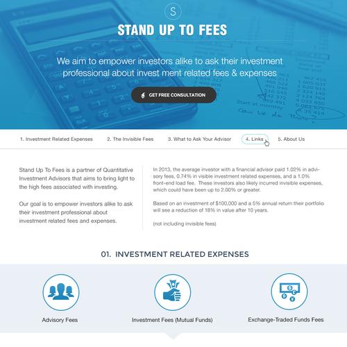 Design for Stand Upto Fees helping investment advisor & partner