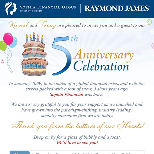 Create a winning Email Invitation for Sophia Financial's 5 year Anniversary Party