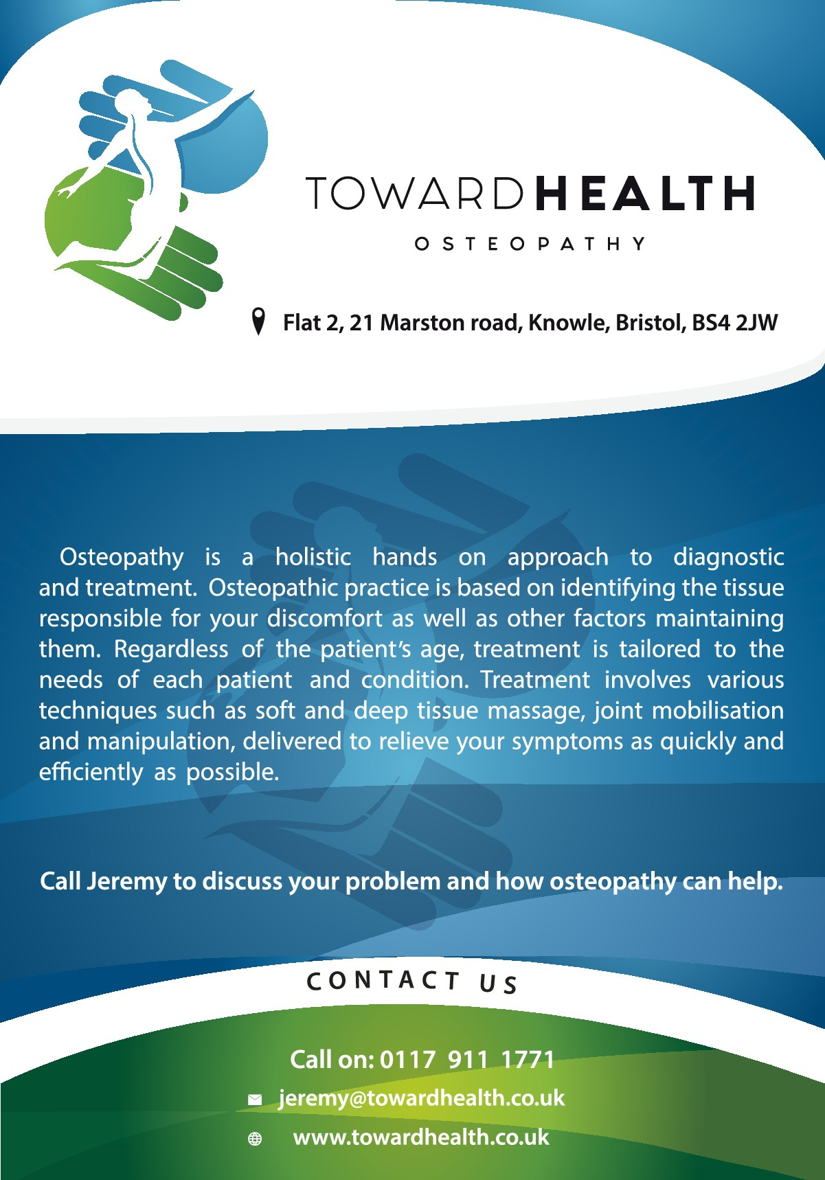Toward Health opening offer flyer