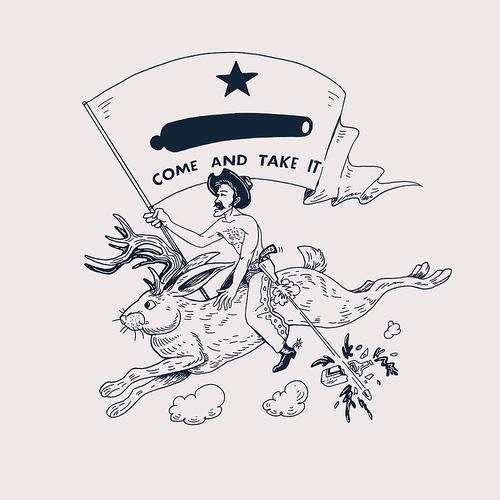 A Cowboy is Riding a Jackalope