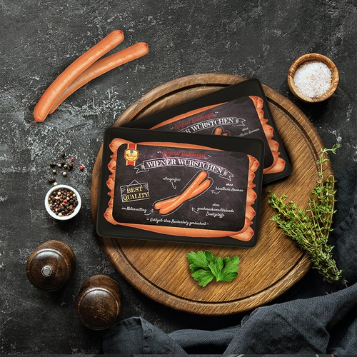 Visually striking sausages package design