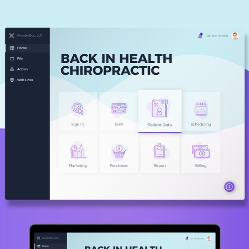 Home Screen Design for a Medical Software