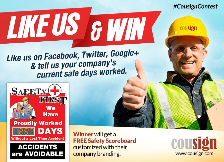 Create a safety inpired contest graphic to drive people to our social media pages.