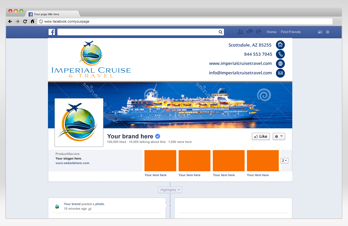 Create an exciting cruise and group travel illustration for Imperial Cruise Travel