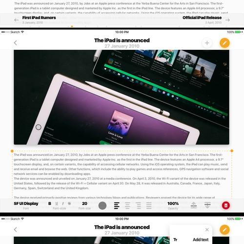 Education iPad app UI/UX design