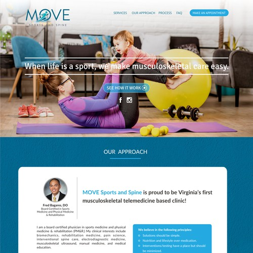 Design a landing page for a sports and spine telemedicine practice