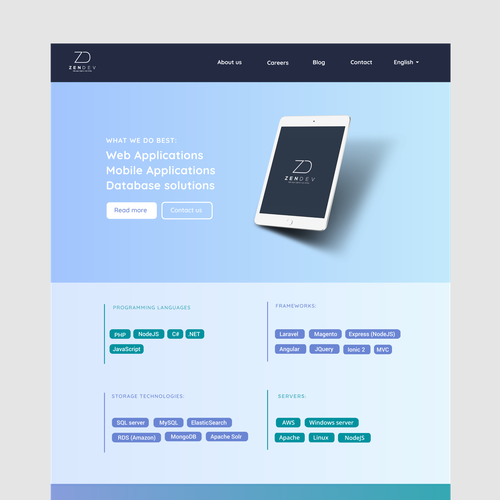 Creative website design for a young start up