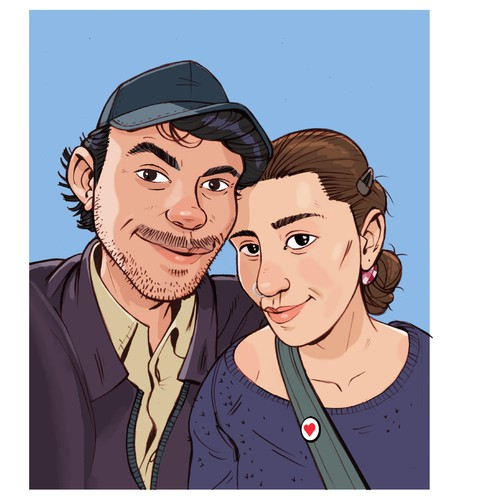 Comic style illustration of a photographed portrait