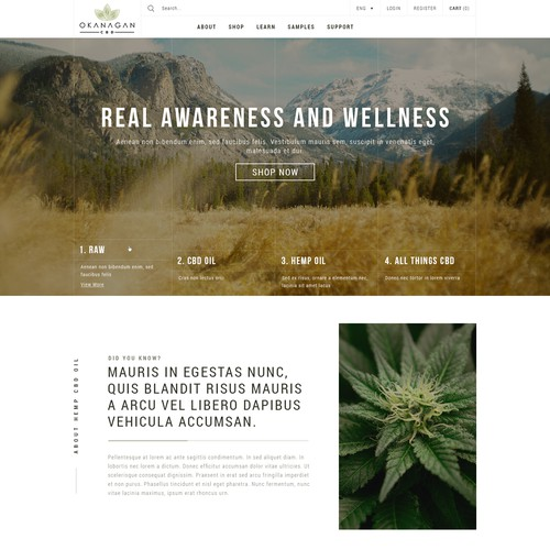 Clean elegant website design for a CBD product website