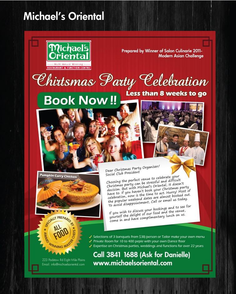 print or packaging design for MICHAEL'S ORIENTAL RESTAURANT & FUNCTION CENTRE