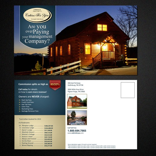 Cabins For You  needs a new postcard