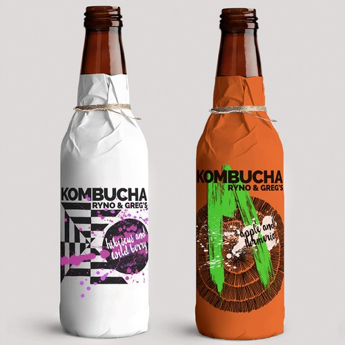 Line of kombucha drinks' wrapping and label design
