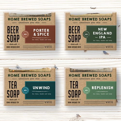 Hand made soaps logo and packaging design