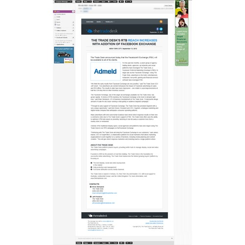 Ad Tech Company Needs Press Release Email Template