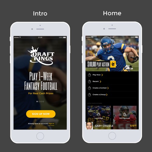 "App design for ""Draft Kings"""