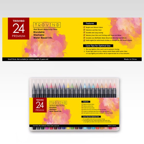 TROVINO : Design a compelling product label for Water Color Brushes/Pens