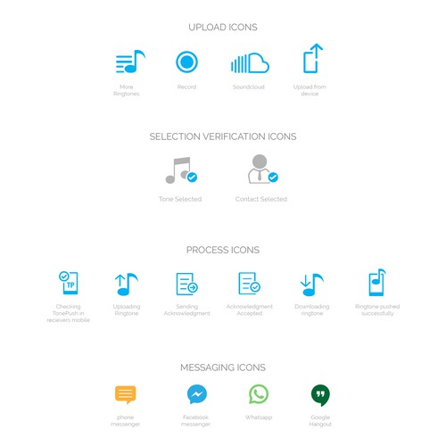 Icons designed for TonePush App