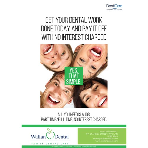IMPRESSIVE POSTER/BILLBOARD DESIGN FOR INTEREST FREE PAYMENT PLAN FOR A DENTAL PRACTICE
